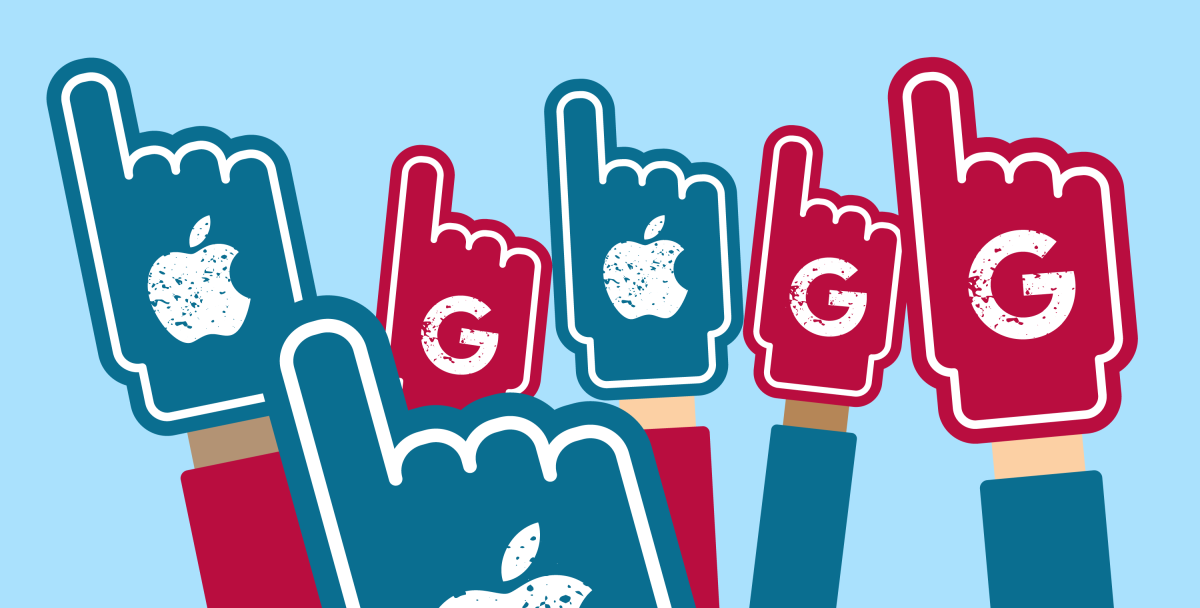 Apple Google foam fingers