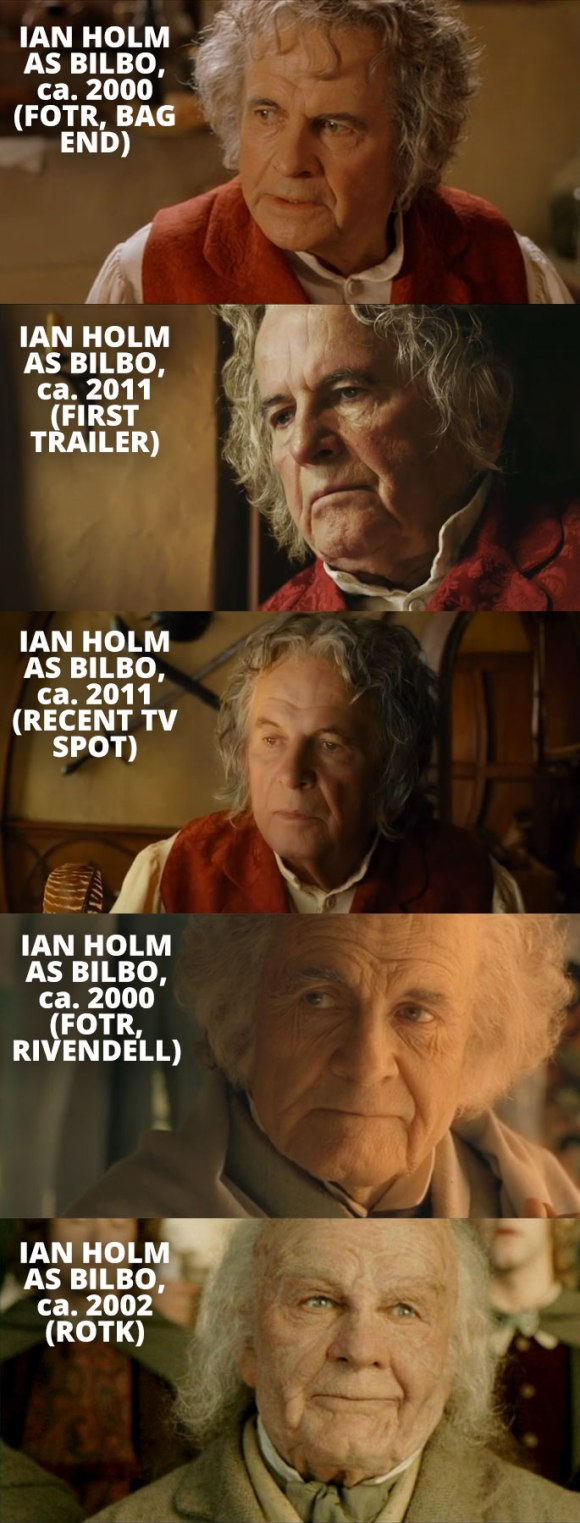 Ian Holm as Bilbo Baggins at various ages.