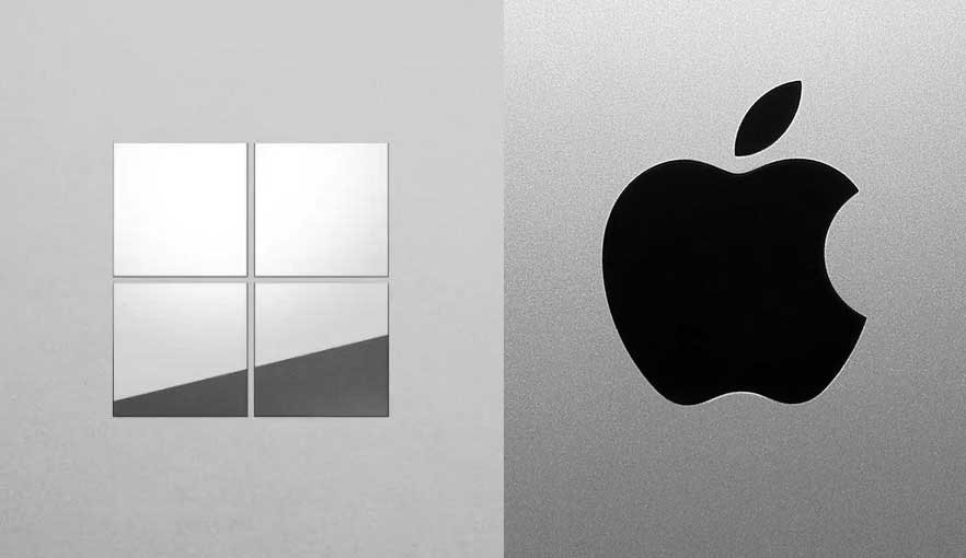 Microsoft's and Apple's respective logos.