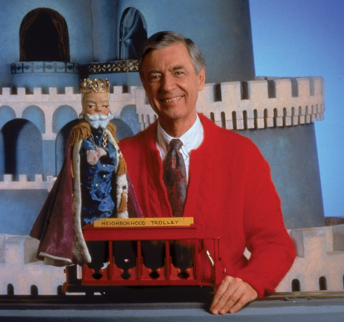 Fred Rogers and King Friday in the Neighborhood of Make-Believe.